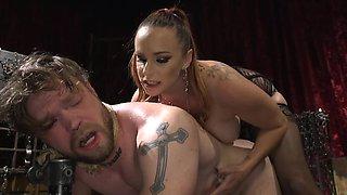 Bella Rossi in femdom scene humiliating her hot stud