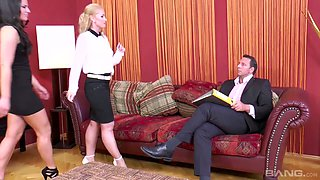 Czech secretary Kathia Nobili and her co-worker are fucked by horny boss