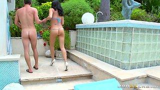 Breath taking brunette MILF in blue bikini sucks juicy dick of kinky neighbor by the pool