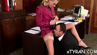 Slutty female domination fetish with playgirl getting licked