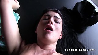 Teen student fucking outdoor pov