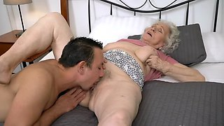 Young cock is a key to the success of old woman's sexual pleasure