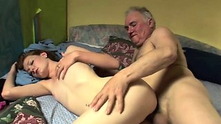 Sexy old and young sex with chick stroking old man
