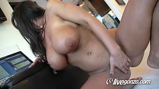 Brunette And Her Big Boobies Are Bouncing On Cock