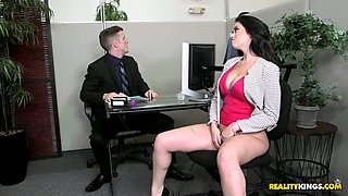 Bootyful secretary Ryan Smiles makes copy of her ass in the office and seduces boss