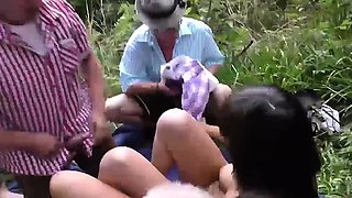 wild outdoor groupsex bukkake orgy