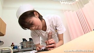 Japanese Nurse Taking Care Of A Horny Patient