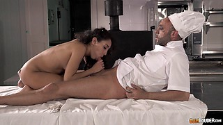 Horny chef at the hotel restaurant fucks a cheating slut