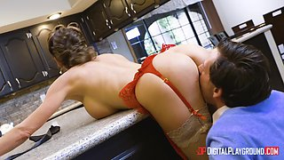 Aroused wife bends over the kitchen table for the best sex