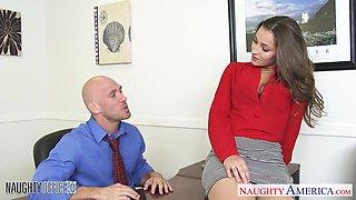 Beautiful secretary babe Dani Daniels is fucked by bald headed boss Johnny Sins