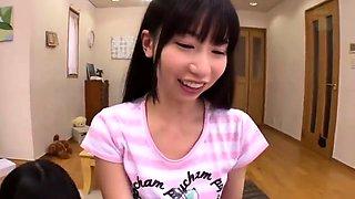 Naughty Asian schoolgirls take turns enjoying a meat stick