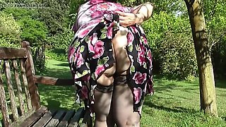 wife shows her bottom in the countryside