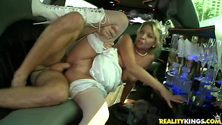 Random dude fucks some other dude's bride in a limo