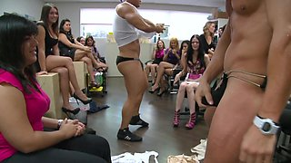 Strippers at the office party blown by the sexy corporate babes