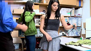Brunette twins caught shoplifting and punish fucked