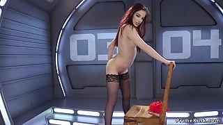 Pierced pussy redhead fucks machine