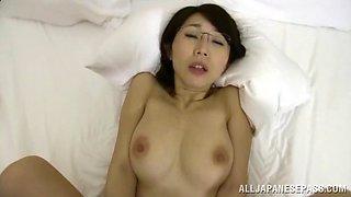 Shy Japanese wife Ayumi Shinoda rides while her boobs bounce
